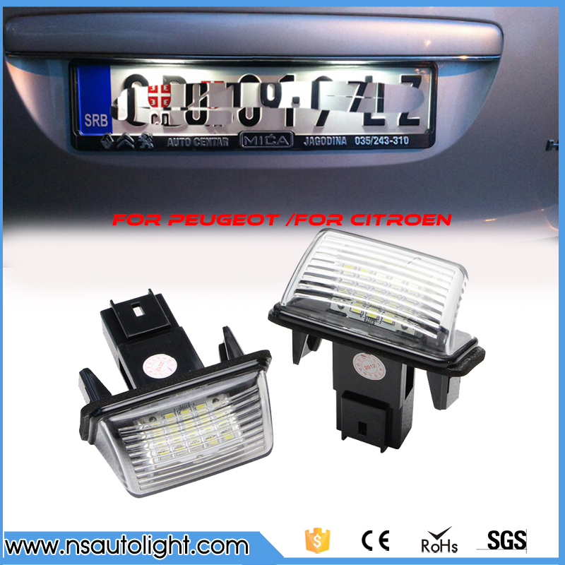 7000K white Led car number license plate light kit for Peugeot 206/206+/207/407/406/406 new 306 new/307/307 new/308/5008/Partner 2pcs led license number plate light for peugeot 206 207 306 307 308 5008 406 407 for citroen picasso c3 c4 c5 c6 saxo xsara