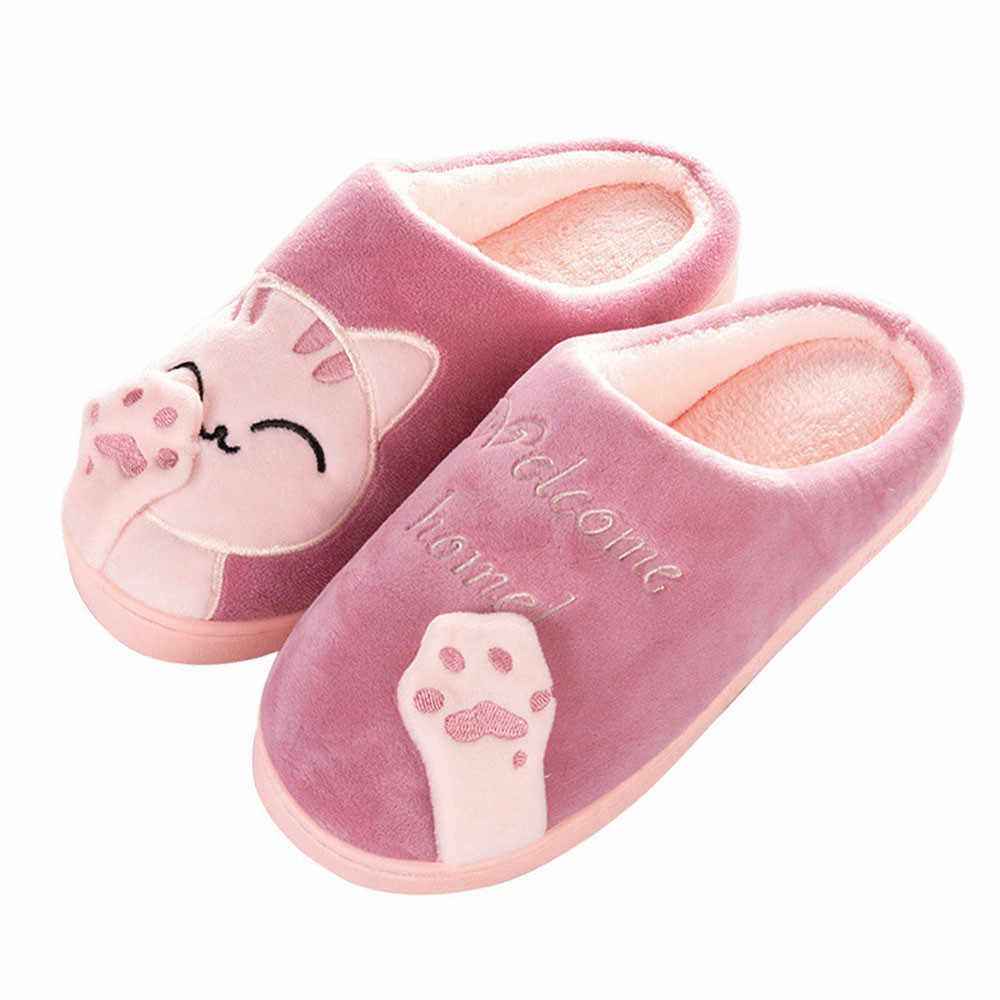 Home Slippers Cartoon Cat Non-slip Winter Warming Flock Fluff  Cute Cat Women Indoors Bedroom Floor Female Shoes Casual Flats