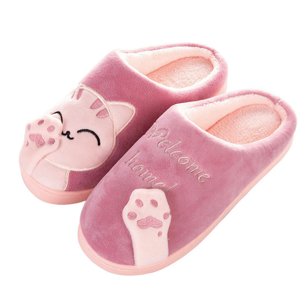 Female Shoes Flats Fluff Home Slippers Non-Slip Bedroom Winter Casual Cartoon Women Indoors title=