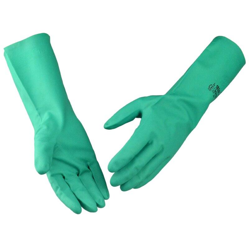 Acid Proof Safety Gloves Nitrile Flocklined Chemical Resistant Work