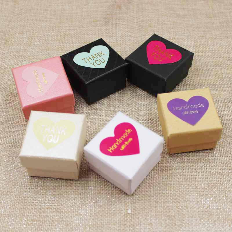 Image 5 - 30pcs per lot 4*4*3cm Fashion High Quality Paper Ring Boxes gift box with sticker label decoration jewerly box for ringpaper ring boxring boxquality ring boxes -