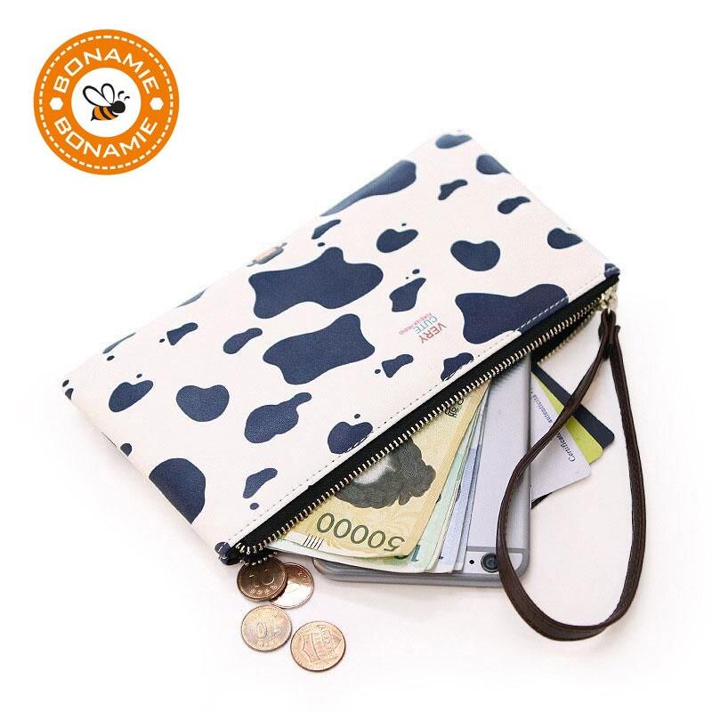 BONAMIE 2017 Cute Women Cartoon Wallet PU Leather Long Zipper Clutch Wallet Girls Big Capacity Cell Phone Bag Lady Coin Purses