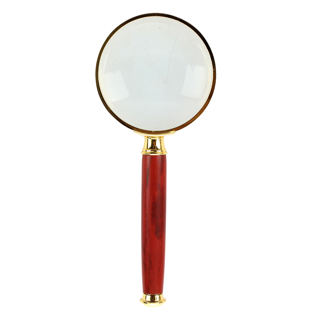 LIXF-20X Gold Tone Metal Frame Rosewood Handle Grip Magnifying Lens Glass 50mm Dia two tone frame round lens sunglasses