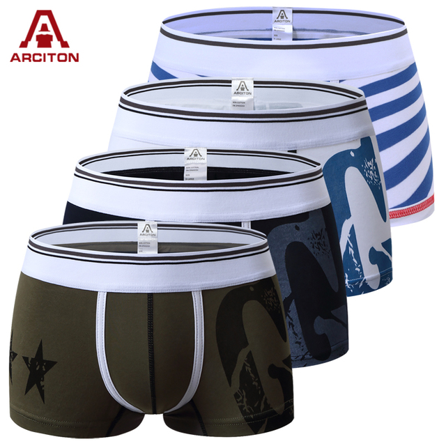 A ARCITON 4PCS Hot Sale Men Underwear Sexy Men Boxer Brand Calzoncillos Printed Mens Underwear Bpxers Size M/L/XL (N-157)