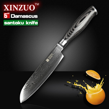 XINZUO 5″ santoku knife Japanese Damascus kitchen knives Japanese VG10 chef knife double forged k133 wood handle FREE SHIPPING