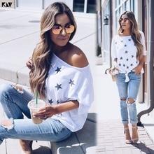 KLV Women Summer Star Print Bow-Tie Short Sleeves Casual T Shirt Tops Ladies Loose Tee