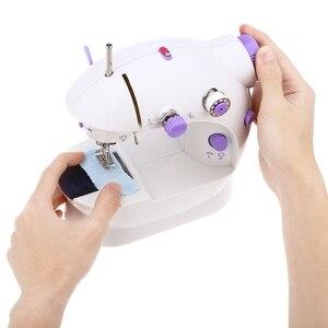 Image 5 - Mini macchina da cucire a pedale portatile Eworld, doppia velocità, doppio filo, multifunzione, elettrico, automatico, riavvolgimento del battistrada, macchina da cucire