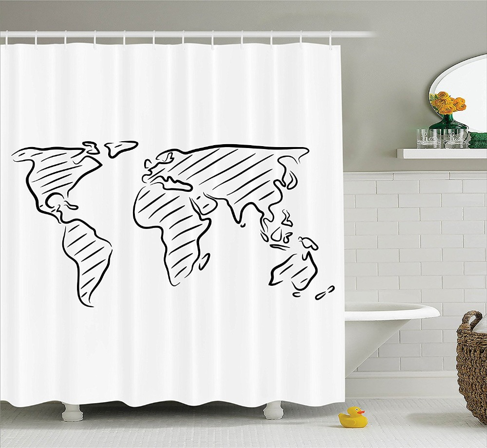 Shower Curtain Sketch Of The World Map in Drawing Effect Artwork Printing Waterproof Mildewproof Polyester Fabric Bath Curtain