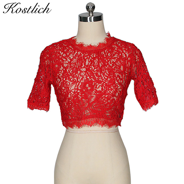 Kostlich Short Lace Blouse Top Women Shirts Hollow Out Sexy Womens