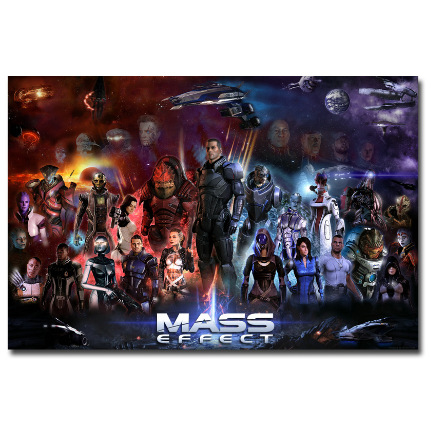 Mass Effect 2 3 4 Hot Shooting Action Game Art Seda Impresión Del Cartel 12x18 24x36 pulgadas Wall Pictures For Bedroom Living Room Decor 028