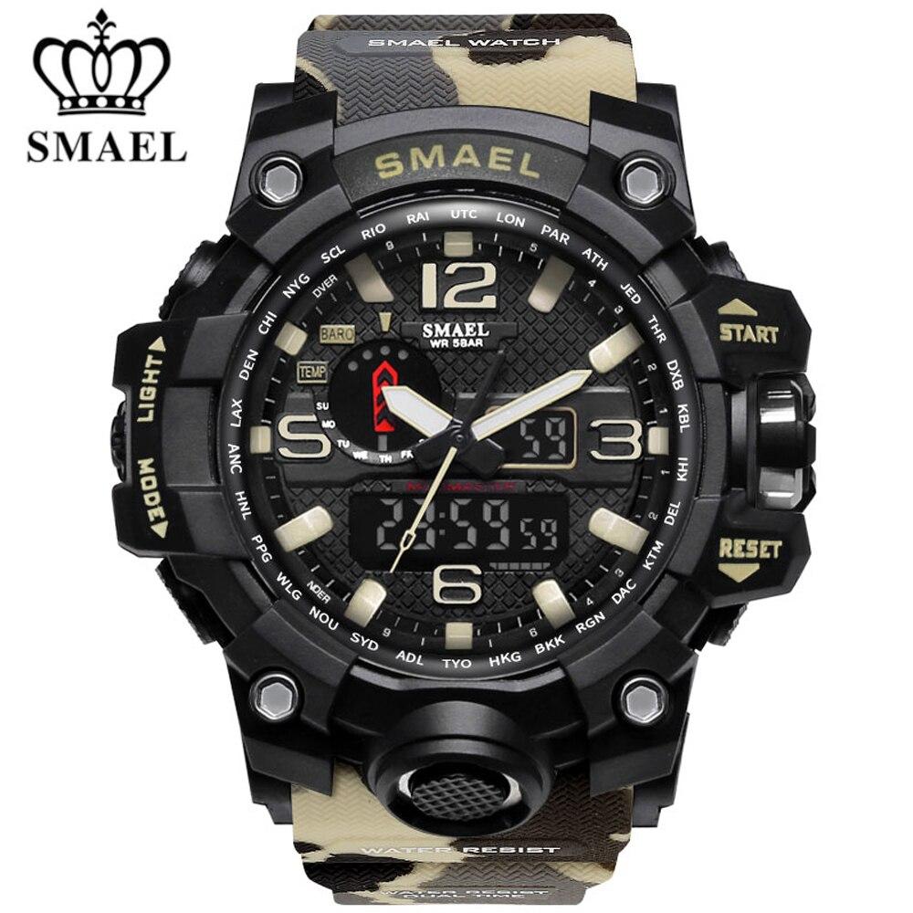 SMAEL 45 Sport Numérique Montre Hommes Sport Électronique Montres Hommes En Plein Air Mâle Imperméable Camouflage Horloge Double Affichage Montre-Bracelet