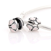 Authentic 925 Sterling Silver Cherry Blossom Clip Pink Enamel Spacer Stopper Bead Fit European Beads Charms