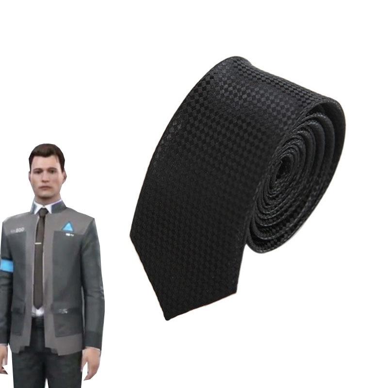 Game Detroit: Become Human Connor Necktie RK800 Agent Cosplay Accessories Men's Skinny Neck Tie Slim Rhombus Tie