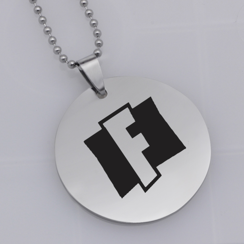 Ufine FPS Game pendant Fortnite big F pendant stainless steel jewelry necklace Customed words or name necklace N459