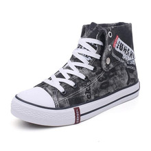 LAIKIHAN Spring and autumn new retro high canvas shoes men casual denim breathab