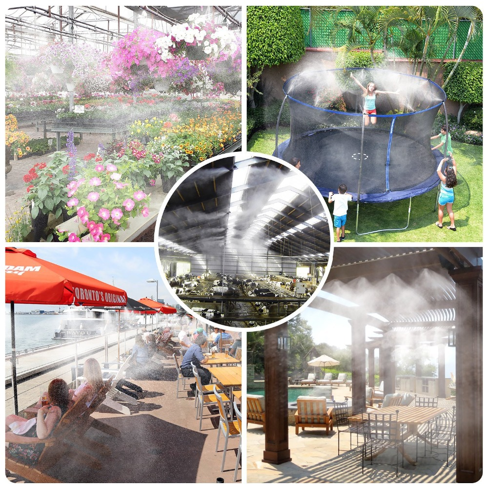 greenhouse lawn garden patio waterring irrigation kits 10m mist cooling system in Sprayers from Home Garden