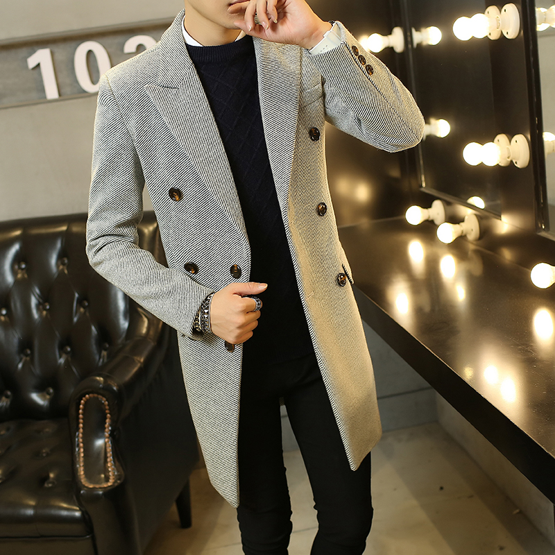 Fashion 2018 Brand Winter Long Trench Coat Men Good Quality Double Breasted Wool Blend Overcoat For Men Size 3XL 4XL