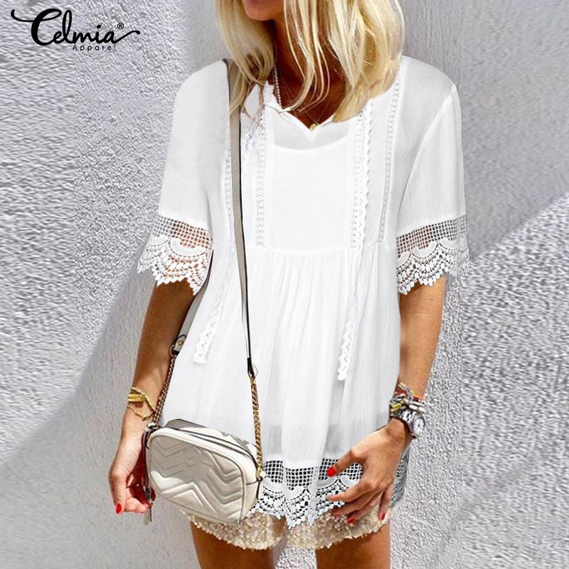 Celmia Plus Size Tunic Tops 2019 Summer Women Blouse V Neck Short Sleeve White Lace Shirts Casual Loose Sexy Hollow Out Blusas