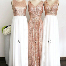 Rose Gold Sequined Three Different Style Long Bridesmaid Dresses For Wedding  Elegant Maid Of Honor Gowns ce6a17535ee0