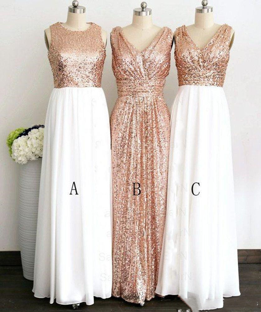 Rose Gold Sequined Three Different Style Long   Bridesmaid     Dresses   For Wedding Elegant Maid Of Honor Gowns Women Formal Party gown