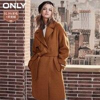 ONLY womens' winter new wool long coat with woolen coat Side pocke Tie up belt|11834S529