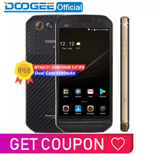 "Get more info on the IP68 DOOGEE S30 Smartphone side fingerprint Dual camera 5580mAh 5V/2A Quick Charge 5.0""HD Android 7.0 2GB RAM 16GB ROM MTK6737"