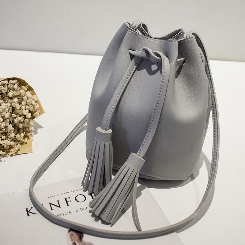 PACGOTH European and American Style PU Leather String Opener Shoulder Bags Messenger Vintage Bucket Women Shoulder&Crossbody Bag