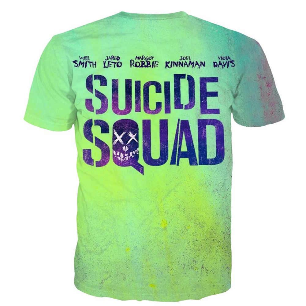 Летние модные отряд самоубийц футболки Харли Квинн, Джокер футболки личность Новинка короткий рукав футболки 5XL
