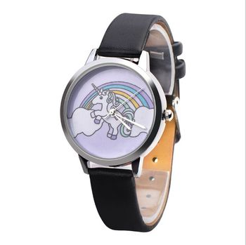 Fashion Unicorn Pattern Women Simple Leather Wrist Watches
