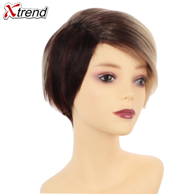 Xtrend 6inch 110g Synthetic Short Straight Hair Wigs For Women Ombre Brown Black Wig Short Bob Wigs High Temperature Fiber 1