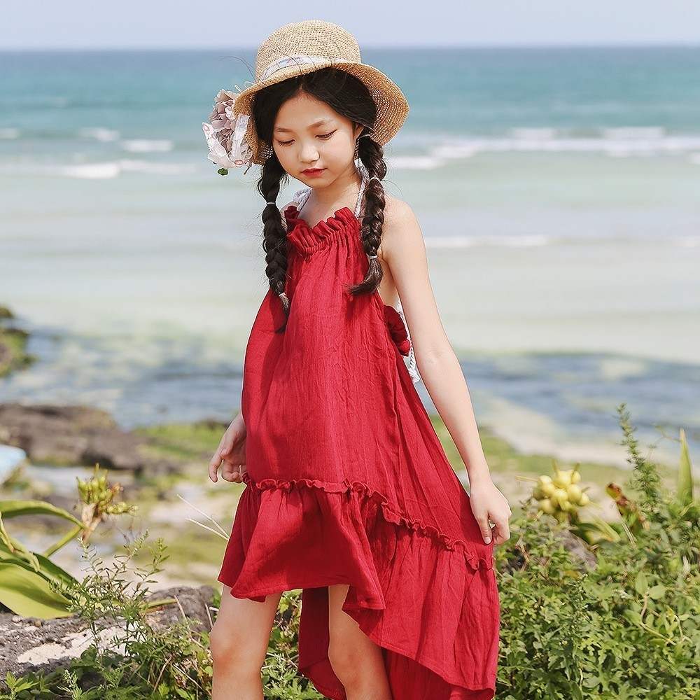 backless big girls dresses summer 2018 red yellow children summer dress kids dresses for girls baby long beach bohemian sundress new summer style girls dresses fashion knee length beach dresses for girls sleeveless bohemian children sundress girls yellow 3t