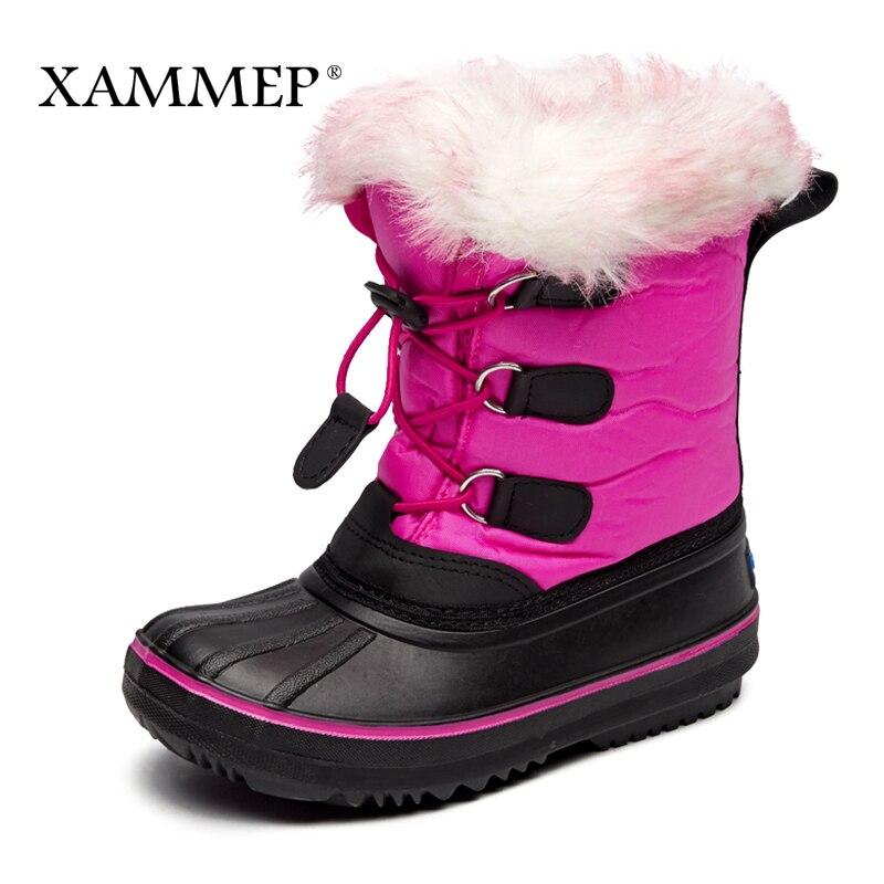 Children's Winter Boots Kids Shoes Girls Boys Mid Calf Boots Brand Winter Shoes Warm Plush Snow Boots High Quality Xammep