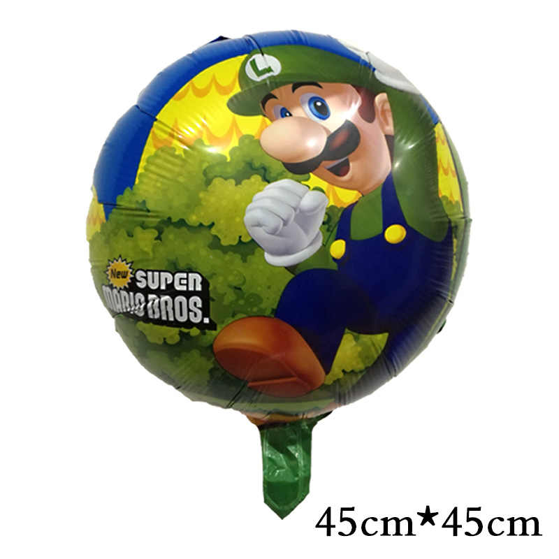 1ピース/ロット18インチスーパーマリオバルーンクラシックおもちゃマリオブラザーズマイラー風船誕生日パーティーの装飾風船子供のおもちゃ45センチ