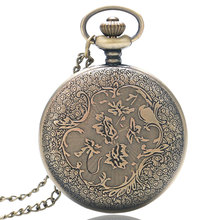 Christmas Gift Bronze Vintage Quartz Pocket Watch Hollow Cartoon Mouse Women Men Necklace Pendant Chain Reloj De Bolsillo