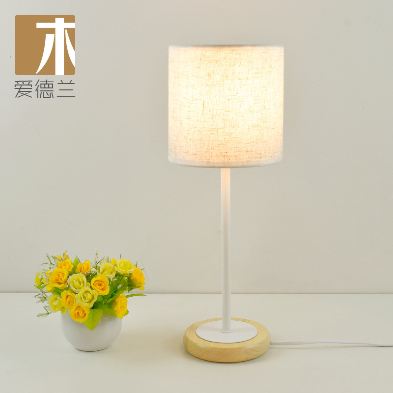 Us 75 89 Yook Modern Round Wooden Base Wood Table Lamps For Bedroom Bedside Lamp Fabric Minimalist Creative Desk Solid In From