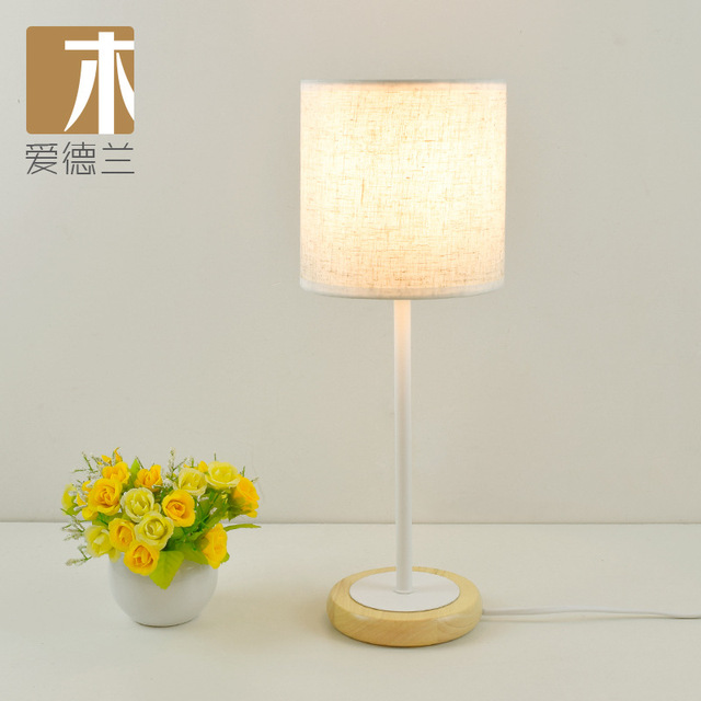 Yook Modern Round Wooden Base Wood Table Lamps For Bedroom Bedside Lamp Fabric Minimalist Creative Desk