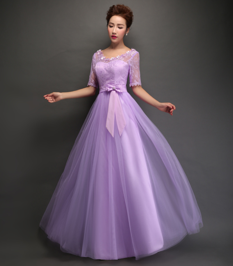 Lace A line Elegant Long Bridesmaid Dresses Wedding Party Gowns Half Sleeve  Formal Dress Light Purple Vestidos Lace Up With Bow-in Bridesmaid Dresses  from ... 1d429ed67953