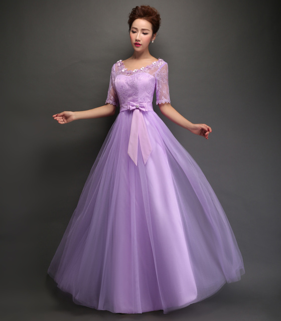 Lace A-line Elegant Long Bridesmaid Dresses Wedding Party Gowns Half Sleeve  Formal Dress Light Purple Vestidos Lace Up With Bow 23a4915df