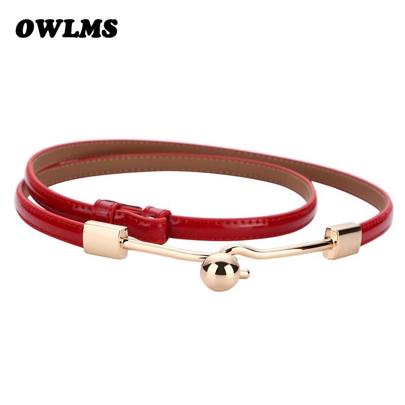Boutique en ligne 008f6 d6a23 € 4.71 30% de DESCUENTO|¡Novedad! cinturones de cuero de charol para mujer,  Cinturón fino, vestido salvaje, Color negro, rojo, blanco, PU, cinturones  ...