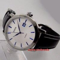 41mm parnis branco dial data azul marcas miyota 8215 relógio automático masculino p554