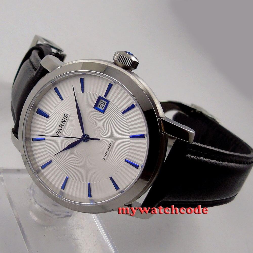 41mm parnis cadran blanc date bleu marques miborough 8215 montre automatique pour hommes P55441mm parnis cadran blanc date bleu marques miborough 8215 montre automatique pour hommes P554