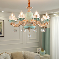 European Style Green Ceramic Chandeliers Zinc Alloy Gold Living Room Lightilng Warm Dining Room Crystal Chandeliers Bedroom Lamp