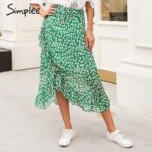 Simplee Falda envolvente con estampado de hojas y volantes para mujer, falda larga asimétrica de cintura alta para calle, para verano y playa, 2018