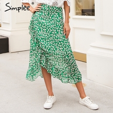 Simplee לפרוע עלה הדפסת לעטוף חצאית נשים אבנט לקשור חוף קיץ חצאית אסימטרית 2018 גבוהה מותן streetwear ארוך חצאית femme
