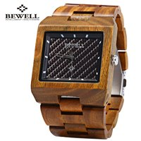 2018 New Bewell Wood Men Watch Wooden Bangle Quartz Watch With Calendar Display Role Men Relogio Masculino Casual Cool Watches