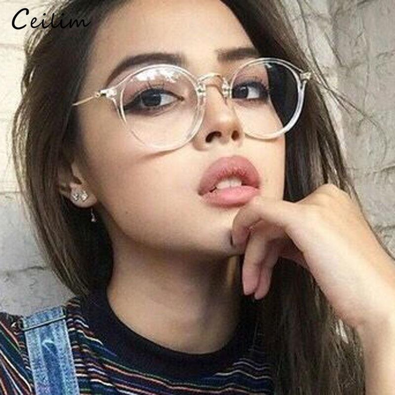 comprare popolare bd78d 987ec US $3.74 57% di SCONTO 2019 Nuovo Chiaro Occhiali Da Donna Rotonda Occhiali  Da Vista Cornice Trasparente Montature per occhiali Occhiali Falsi ...