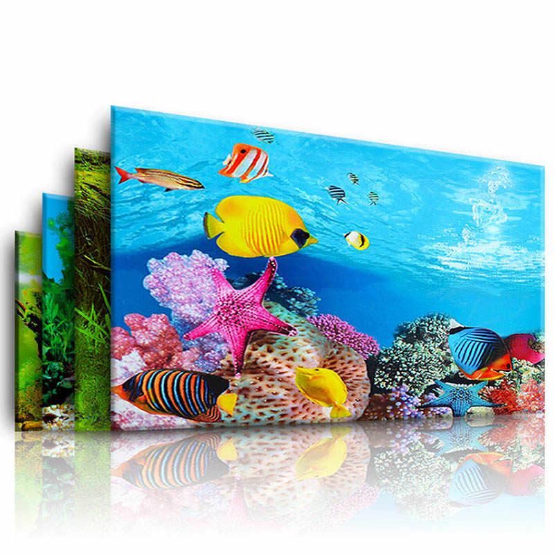 Acquario Paesaggio Sticker 3D Sfondo Pittura Sticker Poster Carro Armato di Pesci Double-sided Ocean Sea Piante Sfondo Aquarium Decor