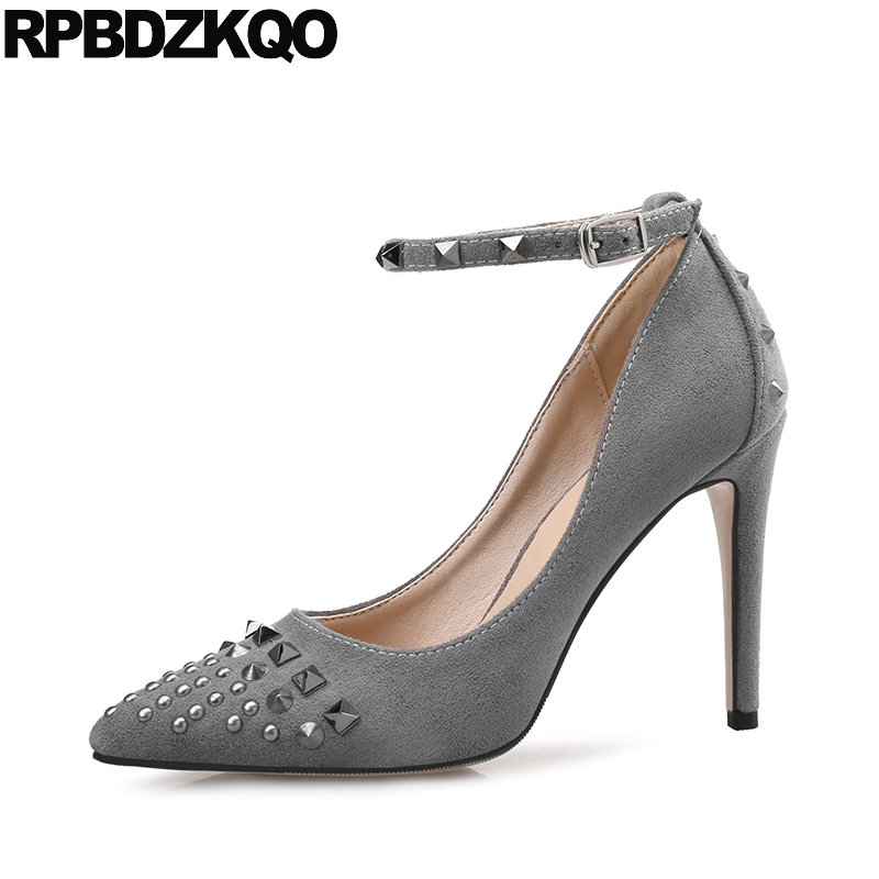 Women Scarpin Gray Plus Size Sexy Shoes Strap New High Heels Pointed Toe Pumps 11 43 12 44 Stud Metal 33 Ankle Chinese China
