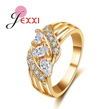 JEXXI Classic Wedding Band  Gold Jewelry Women Engagement Knuckle Rings Beautiful Christmas Gift Clear Austrian Crystal