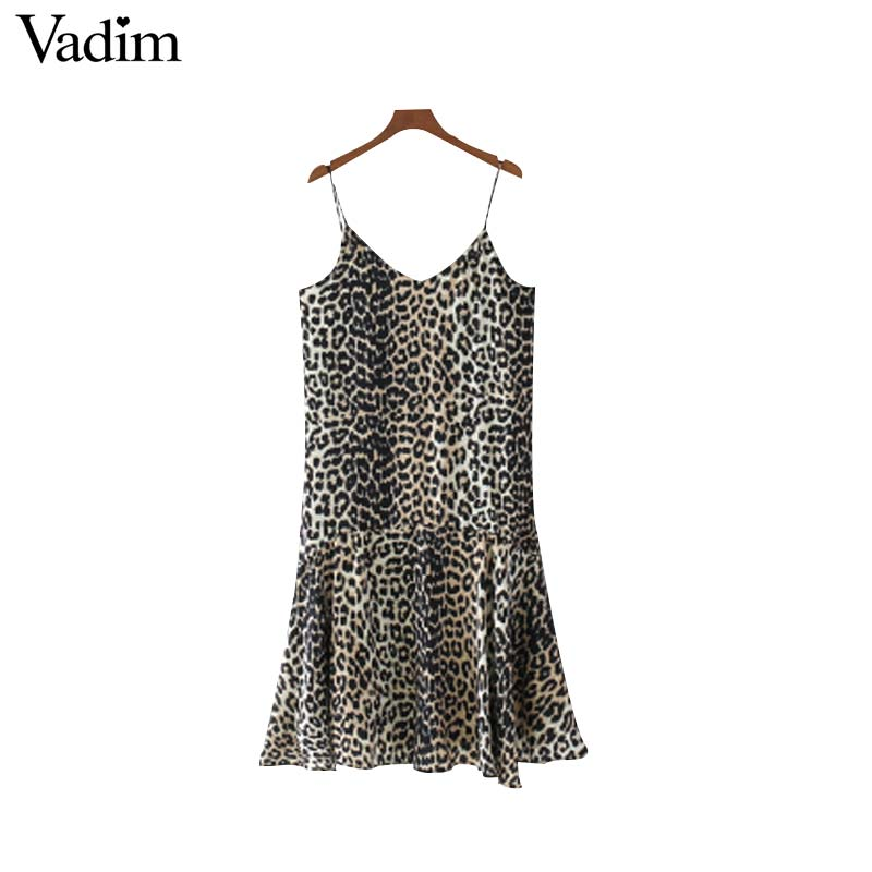 e64c8c5dab7d Vadim women sexy V neck leopard spaghetti strap dress adjustable straps  ladies summer pleated fashion dresses